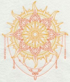 This is a nice example of layers breaking up the concentric circle-ness.Looks like a yellow & coral sun Mandala Mandalas Painting, Mandalas Drawing, Kunst Tattoos, Tattoo Drawings, Tattoo Art, Leg Tattoos, Body Art Tattoos, Tatoos, Mandala Arm Tattoo