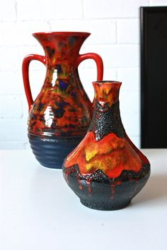 Vintage West German Lava Pottery Vase by TriBecasVintage on Etsy
