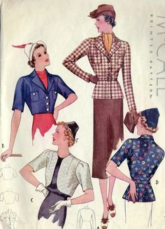 1930s Misses Jacket and Bolero Sewing Pattern