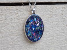 Glass glitter silver pendant charm confetti by sewwhimsycreations