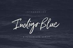 Indigo Blue Font + Swashes - Script