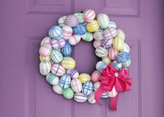 Foam egg and washi tape wreath