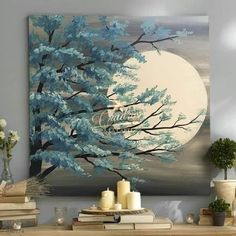 Texture Painting On Canvas, Acrylic Painting Canvas, Acrylic Art, Canvas Wall Art, Painting Art, Moon Painting, Painting Trees, Painting On Leaves, Watercolor Painting