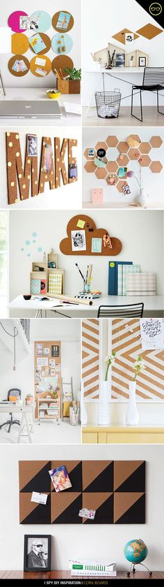 Cork board ideas for your work desk by i spy diy. Post your to-do lists, some inspirational quotes, or photos of your loved ones :) I Spy Diy, Diy Casa, Creation Deco, Ideias Diy, Home And Deco, My Room, Dorm Room, Diy And Crafts, Projects To Try