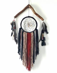This wooden dream catcher, very unusual bohemian decor featuring a large dream catcher made out of nature. Transformed into a boho decor suitable
