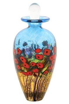 California Poppy Perfume Bottle: Robert Held: Art Glass Perfume Bottle - Artful Home