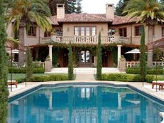 Home and Apartment, The Best Design Of Tuscany Style Home With Brown Wall And Green Plants Also Swimming Pool With Brown Roof Also White Cream Floor And Two Floor Of Home Building ~ The Wonderful Design Of The Tuscany Style Homes With The Exciting Decoration Of Homes