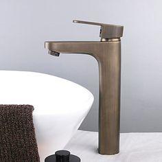 Vessel Single Handle One Hole in Antique Brass Bathroom Sink Faucet 2016 - Cheap Bathrooms, Amazing Bathrooms, Best Interior Design, Interior Design Inspiration, Best Bathroom Faucets, Brass Bathroom, Copper Taps, Diy Bathroom Remodel, Bathroom Ideas