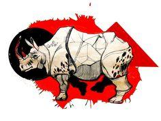 Графика. Носорог. Арт.