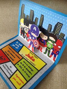 Convite Super Heróis Pop up | Ana Chiyo Convites e Mimos | Elo7