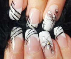 black silver flowers french natural nails