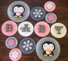 Winter Onederland Paper Rosettes, Winter Wonderland, Penguin Birthday, Winter Baby Shower