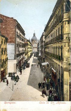 Postal coloreada de la calle Alfonso I de Zaragoza. Fechada en 1904, principios del siglo XX. 03
