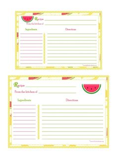 Cherry Recipe Card  Full Page  Free Recipe CardsPages