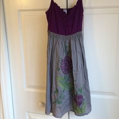 Anthropologie plum embroidered dress Anthropologie dress by Pinkerton plum and grey embroidered ! Size extra small, worn only once or twice. The top part is stretchy so it fits most chest sizes and fit is between an xs-s Make an offer! Anthropologie Dresses