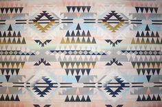 Stoff grafische Muster - Stoff aus Baumwolle, ethno, azteken, boho - ein Designerstück von stoffmeise-weiss bei DaWanda
