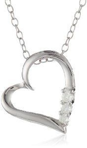 Sterling Silver Three-Stone Diamond Heart Pendant Necklace (1\/10 cttw I-J Color I2-I3 Clarity) 18\