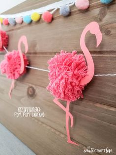 This Flamingo Pom Pom Garland is the perfect addition to your summer pool party! This Flamingo Pom Pom Garland is the perfect addition to your summer pool party! This is a fun summer craft with a lot of personality! Crafts For Teens To Make, Summer Crafts For Kids, Create And Craft, Spring Crafts, Diy And Crafts, Neon Crafts, Flamingo Party, Flamingo Craft, Flamingo Birthday