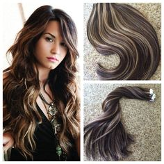 Dark Brown Highlight with Caramel Blonde Seamless Tape in Human Hair Extensions #Ugea #PianoHighlightColorTapeinHairExtensions