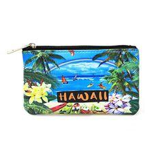 fb6ad2f12ff63e Hawaii Print Artificial Leather Zipper Key Ring Coin Purses in Rainbow  Beach Surfer
