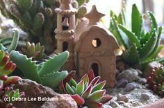 Miniature Landscape with Succulents, Minature Terracotta Mission Church