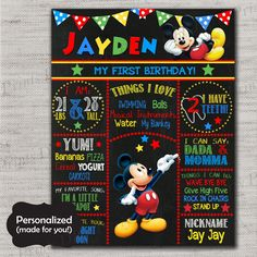 Mickey Mouse Birthday Sign,Mickey Mouse Chalkboard Sign,Any Size,Personalized birthday sign,First Birthday,Birthday party sign,DPP252