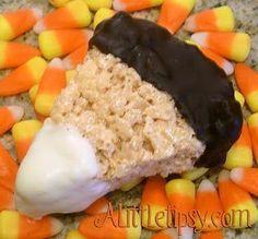 Chocolate Dipped Candy Corn Rice Krispie Treats