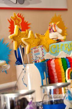 Cute magic wand cookies! Rainbow Unicorn Art Party with SO MANY FABULOUS IDEAS via Kara's Party Ideas | KarasPartyIdeas.com | Printables, favors, cakes, games, and more! #rainbow #rainbowartparty #unicornparty #artparty #rainbowparty #partydecor #partydesign #partyideas (8)