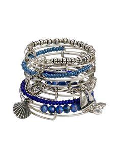 Set of 12 Blue Bead & Nautical Charm Bangle Bracelets