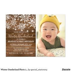 Winter Onederland Photo 1st Birthday Party Card Rustic winter onederland themed birthday invitations featuring a photo of your child, a wooden background, a scattering of twinkling christmas snowflakes, string twinkle lights and a modern birthday party template. Fun birthday party invites - customize your invitations. #birthdayparty #invites #invitations