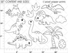 Dinosaur stamps - Digital Stamps - Dinosaur Stamps - Mygrafico.com