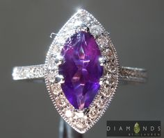0.95ct Marquise Amethyst and Diamond Halo Ring $699 #Jewelry #beautiful #engagement #ring #purple #gems #princess #luxuryjewelry #wow #customjewelry #amazing #colorstone #awesome #gorgeous #greengarnet #handmade #colorstoneengagementring #beautifuljewelry #gift #love #propose #bridalring #weddingring #coloredring #fancycoloredgemwithdiamondring #naturalcoloredstone