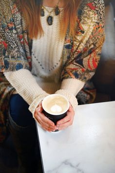warm cup of coffee and a BASK kimono and druzy necklace both handmade and available on www.BASKdesigns.com