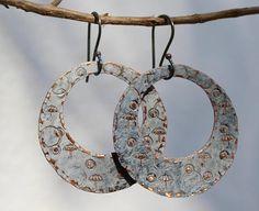 Hoops, Hoop earrings, Big hoops, Copper hoops, Patina earrings, Sterling silver ear wire