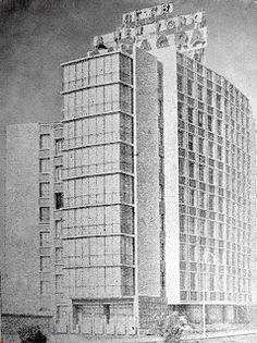 Edificio Limatambo y cartel de Panagra 1955