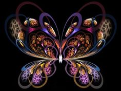 From & flame pack This was made from a cropped fractal that I flipped in PS and both sides were then spliced together to create the butterfly shape Fractal Design, Fractal Art, Fraggle Rock, Butterfly Wallpaper, Butterfly Shape, Pretty Designs, Beautiful Butterflies, Beautiful Patterns, Pretty Pictures