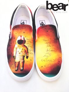 Hand painted cutsom Vans featuring artwork from Brand New's album Deja Entendu