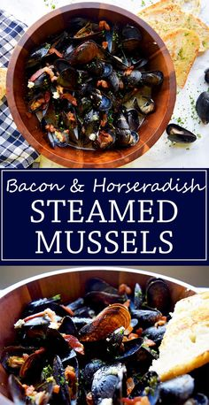 Bacon & Horseradish Steamed Mussels- Mussels steamed in ale beer with ...