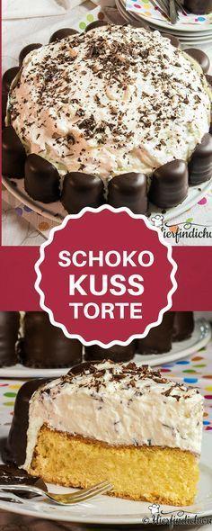 Leckere Schokokusstorte mit Biskuitboden und einer Schokokuss-Quark-Creme. Idealer Geburtstagskuchen für einen Kindergeburtstag.