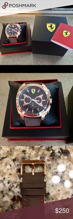 NWOT SCUDERIA FERRARI MEN'S WATCH NWOT Scuderia Ferrari Men's Watch in Brown/Rose gold⌚️NEW watch with clear dial sticker still on. Was a gift for hubby and I'm not into men's watches so I can't recognize the model for giving proper detailed description. It's similar to some Ferrari model watches on Macy's &Saks fifth. Clearly says Scuderia Ferrari on the watch. I'm working on getting the right model &description. If you recognize the model, please share! Original price chosen based on…