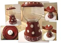 """""""Alabama Crimson Tide"""" candy jar (really whatever you want to use it for) hand painted.  Roll Tide!!  Terracotta Clay Pot and plate, paint, glue, round glass vase, drawer pull."""