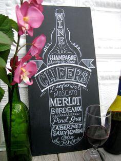 Items op Etsy die op Kitchen Chalkboard Art- Wine Lover Old Vintage Style Lettering lijken