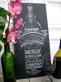 Kitchen Chalkboard Art- Wine Lover Old Vintage Style Lettering