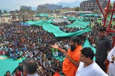 Baba Ramdev Addressing to the people affected by the massive #Earthquake in relief #camp. #Kathmandu, #Nepal with Acharya Bal krishna.