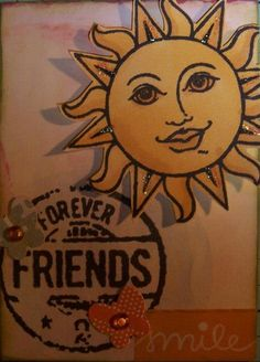 Rhonda's  ATC for the April 2013 Crafty Girls Challenge - BFF's - What does friendship mean to you?