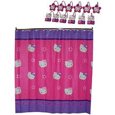 """Sanrio Hello Kitty """"Kitty and Me"""" Shower Curtain and Shower Curtain Hooks I HAVE THIS TOO...LOL"""