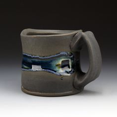 Stoneware mug Charcoal black matte glaze with by ShadowMayStudios, $45.00
