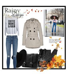 """Rainy days"" by queen-317 ❤ liked on Polyvore featuring Burberry, Alexander McQueen, Hunter, rag & bone, Frame Denim, day and rain"
