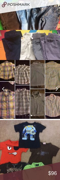 HUGE 3T boys lot - MAJOR Discount on Name Brands 17 items!!😳 8 Bottoms: EUC:Marie Chantel Brown Cords; Children'sPlace jeans -1 EUC, 1 good knee* Levi's jean good-see knee*, EUC: Nautica Navy khaki & Polo Ralph Lauren Chino Carter's good: 1 cargo & 1 light sweat pant. 9 Tops:various brands.Gap blue, green plaid button up,yellow & pink plaid -small mark on back.Gorgeous spring EUC yellow plaid collared shirt. 4 T-Shirts in good used cond. Green polo:small marks:front bottom. when placed on…
