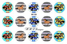 """Native American Inspired (NA 223) Instant Download Set of 15 1"""" Bottle Cap Images ~ Stallion by HHTDesigns on Etsy"""